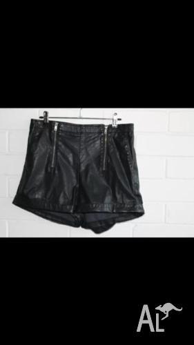 Leather Shorts Black Biker Zipper Brand New 6 8 More