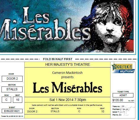 Les Miserables - Her Majestys Theatre - Melbourne