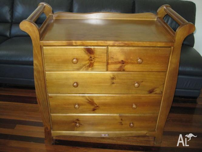 Love n Care Sleigh Chest/Change table with drawers.