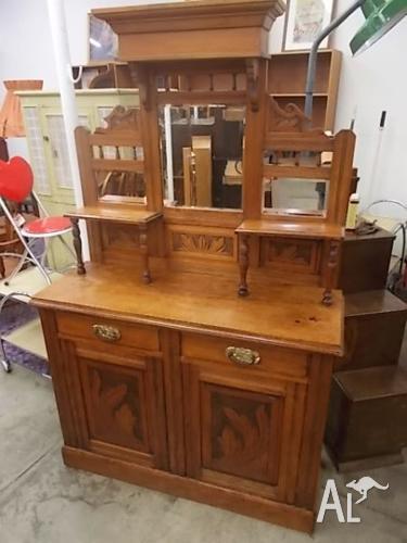 Lovely Antique Edwardian Mirrored Sideboard Dresser