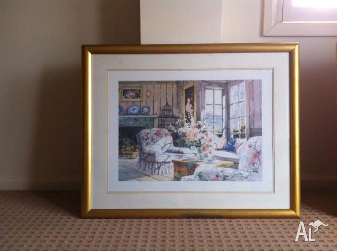 M. Simandle prints in gold sprayed frame