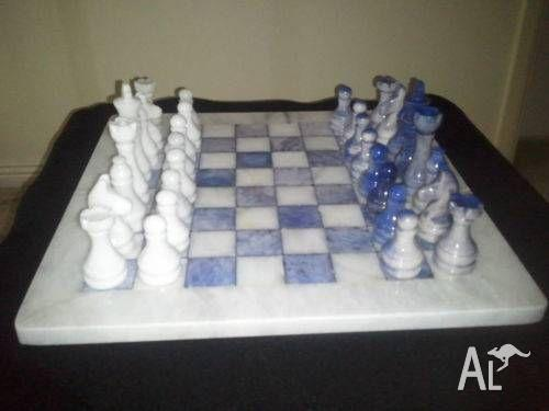 Marble Chess Set Blue & White - 12