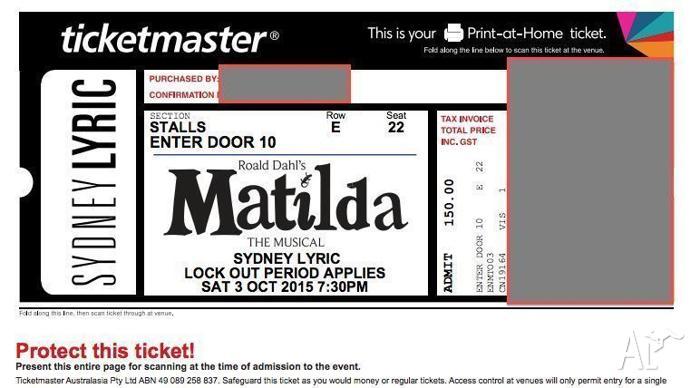 Matilda the Musical ticket, Sydney Lyric Theatre, Oct 3