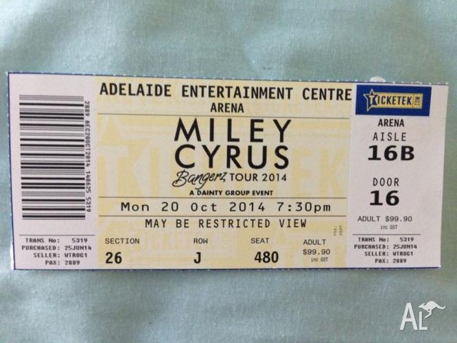 Miley Cyrus Bangers World Tour Ticket
