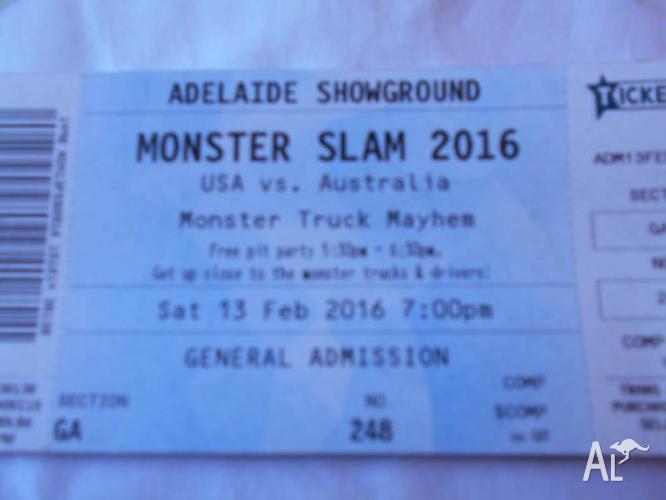 MONSTER SLAM 2016 TICKET this Saturday 13 Feb Adelaide