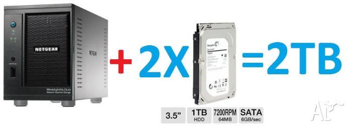 Netgear ReadyNAS Duo 2TB Network Storage -Mint Perfect
