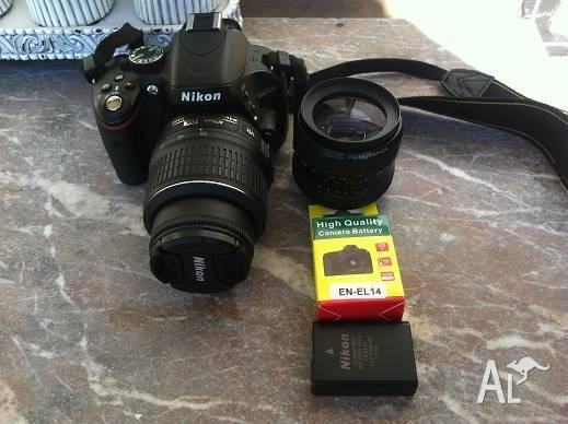 Nikon D5100 DSLR Plus 2 X Lenses, 3 Batteries & Carry