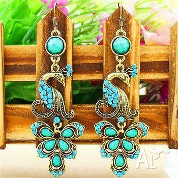 Ocean Blue Crystal Earrings Silver/Bronze Plated