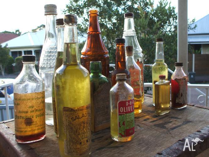 Old Glass Bottle Collection of Antique Vintage Bottles