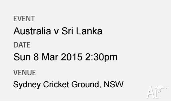 One Adult Ticket - Australia Vs Sri Lanka SL Zone