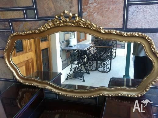 Ornate Oval Gold Framed Mirror Vintage