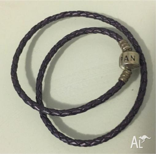 Pandora Purple Woven Leather Bracelet $30