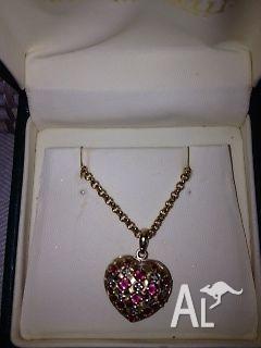 PENDANT - RUBY, DIAMOND, 9CT GOLD