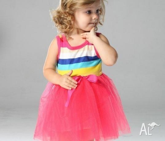 Pink Rainbow Stripe Tutu Dress