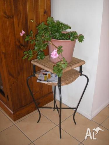Plant Stand Curved Metal Legs Woven Cane Top