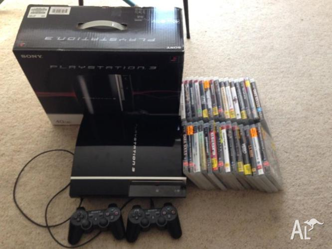 PLAYSTATION 3 40GB 2 CONTROLLER WITH 29 GREAT GAMES