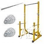 PRT80 SQUAT RACK PACKAGE 95KG BAR AND WEIGHT PLATE