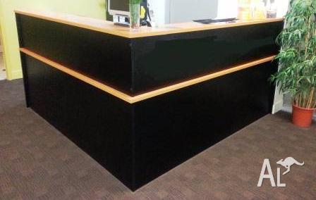 Reception counter, Chevron, Dark Brown, and wood Veneer