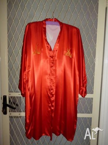 Red Satin Happy Coats , Brunch Coats ( 2 )