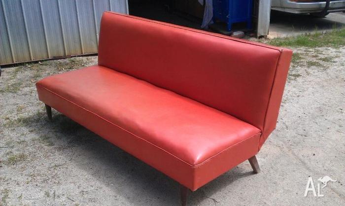 Retro Orange Vinyl Futon Couch