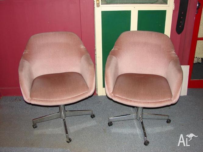 RETRO SWIVEL TUB CHAIRS 60s    70s DUSTY PINK VELOUR