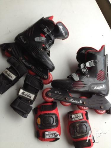 Roller blades, knee pads, elbow guards.