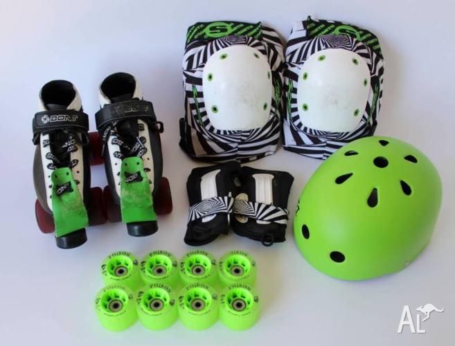 Roller Derby Skates BONT size 9 SMITHS SCABS Pads FRESH