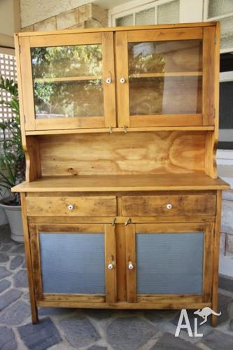 Rustic Vintage Antique Kitchen Dresser With Hutch For