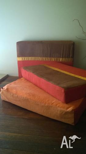 set of giant floor cushions red brown gold NEAR NEW