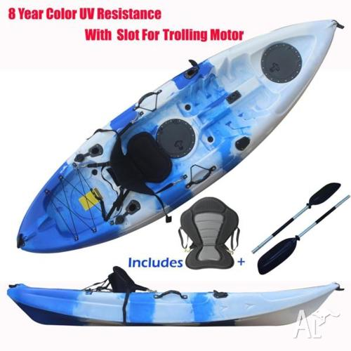Single Sit-on 2.7M Kayak Boat 5 Rod Holders 8 Colors