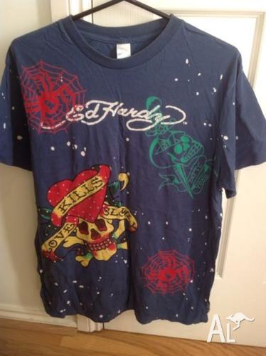 Skull & spiders rhinestone Ed Hardy t-shirt