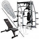 SMITH MACHINE PACKAGE SPOF3010 BENCH & 100KG BAR/WEIGHT