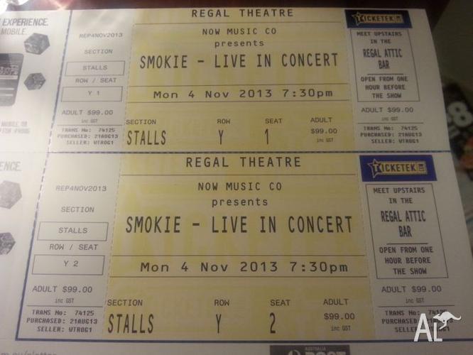 Smokie Concert Regal Theatre 4 November