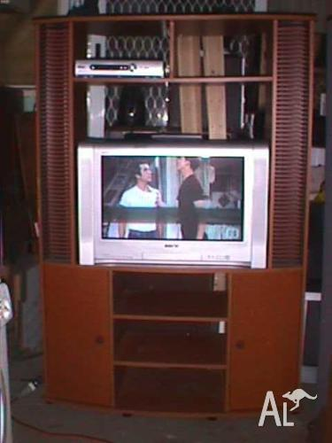 Sony CRT TV and Cabinet.
