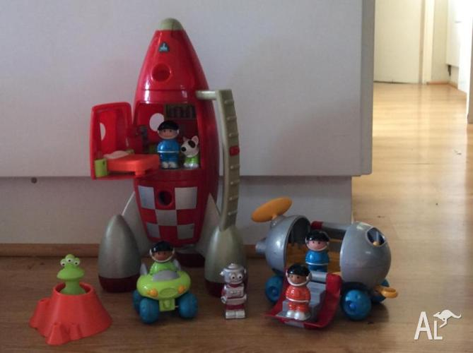 Space rocket and toys