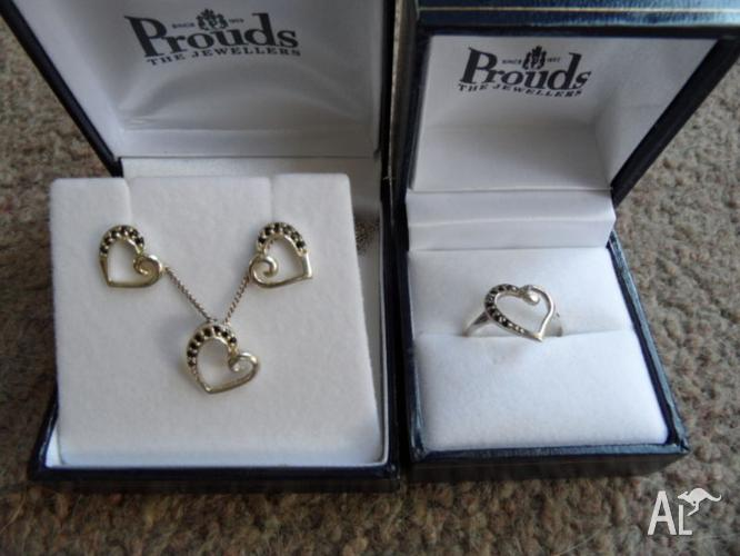 STERLING SILVER 4 PIECE HEART SHAPED SET BARGAIN PRICE