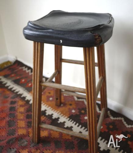 Stool with Wood Legs and Black Vinyl Seat