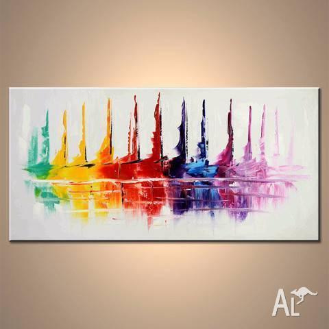 Stunning colourful sailboats abstract modern artwork.