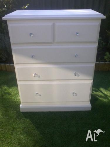 Tall Boy Chest Of Drawers Off White Shabby Chic