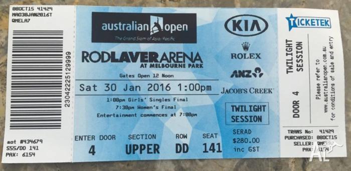 Tennis Ticket Women's Final 30/01/16 Australian open