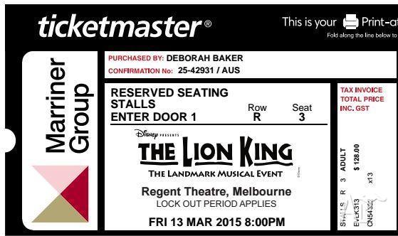 The Lion King - Melbourne - Stalls 13/03/2015