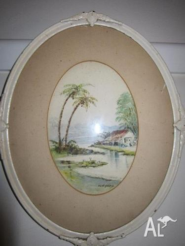 Timber Framed Signed Vintage Water Colour Beachy