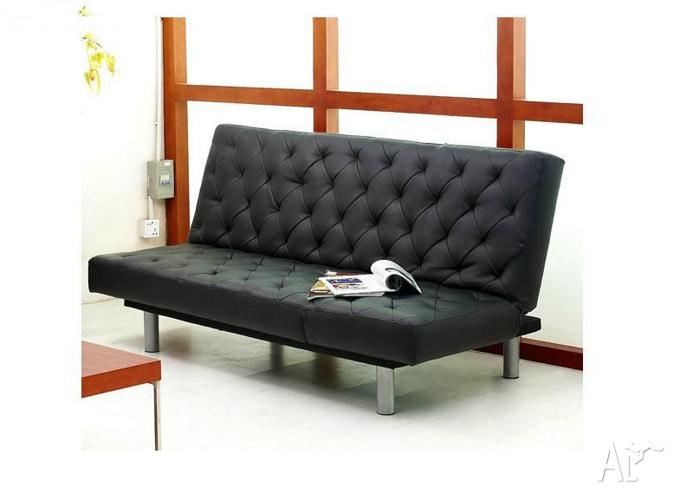 Tmsb102 Three Seater Black Pu Leather Lounge Sofa Bed Futon In St Kilda Victoria For