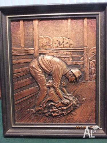 Tom Gregus Shearer No 1 Copper Sculpture Wall Hanging For
