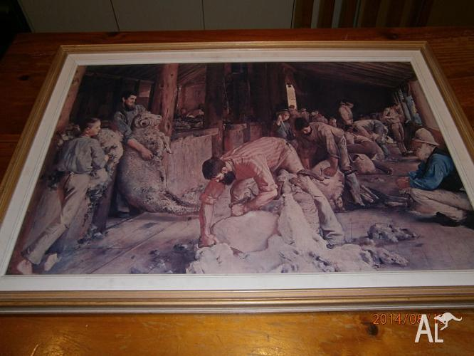 TOM ROBERTS PRINT: SHEARING THE RAMS