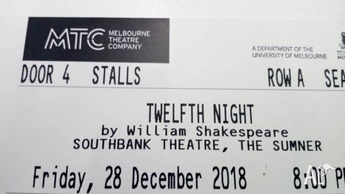 Twelfth Night ticket by William shakespeare