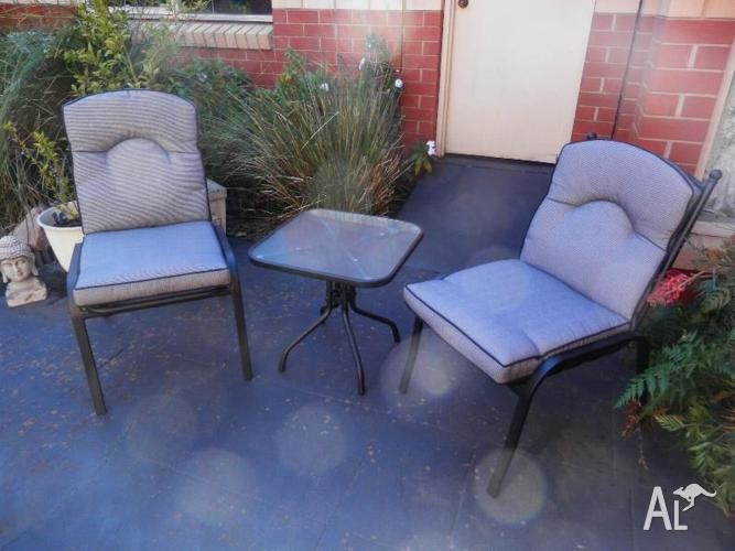 Two Indoor/Outdoor Chairs with small Coffee Table