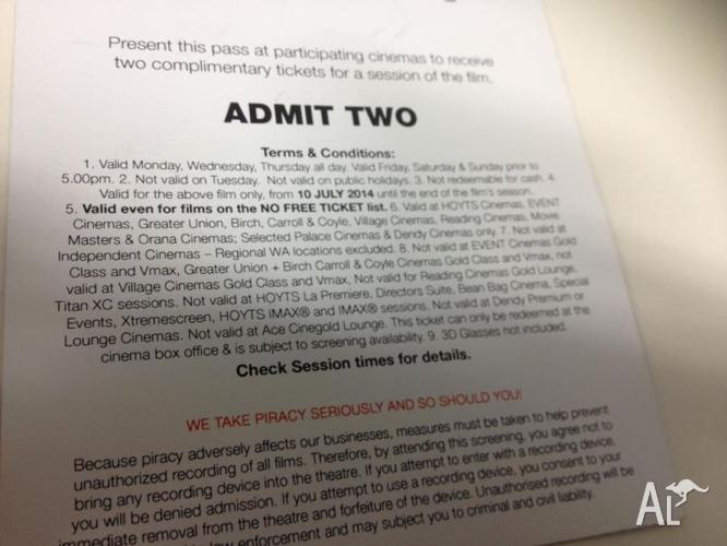 Two Tickets for Dawn of the Planet of the Apes