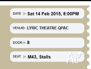TWO Tickets to Wicked (BRISBANE), Feb 14, Premium