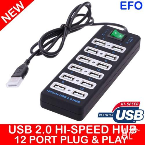USB 2.0 12 Port Hub 480Mbps Keyboard Mouse USB SD HDD